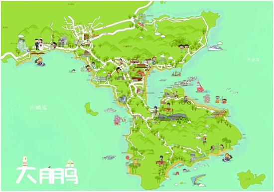与香港隔海相望(手绘地图